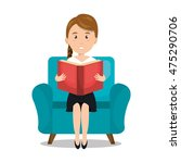 woman reading textbook icon... | Shutterstock .eps vector #475290706