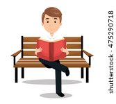 man reading textbook icon... | Shutterstock .eps vector #475290718