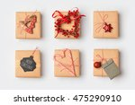 christmas gift boxes with... | Shutterstock . vector #475290910
