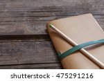 paper notebook with leather... | Shutterstock . vector #475291216