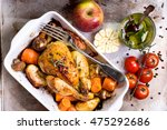 whole baked juicy chicken with... | Shutterstock . vector #475292686