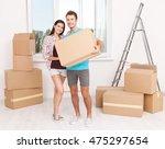 portrait of happy couple in new ... | Shutterstock . vector #475297654