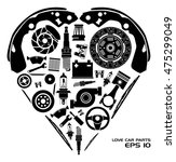 set of auto spare parts. heart...   Shutterstock .eps vector #475299049