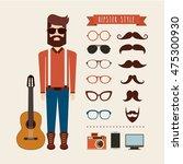 avatar man hipster style... | Shutterstock .eps vector #475300930