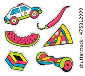 set of colorful funny pin... | Shutterstock .eps vector #475312999