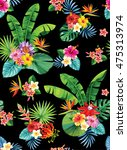 seamless pattern with palm... | Shutterstock .eps vector #475313974