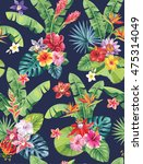 seamless pattern with palm... | Shutterstock .eps vector #475314049
