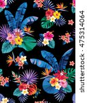 seamless pattern with palm... | Shutterstock .eps vector #475314064