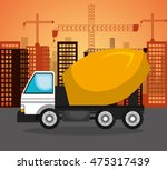 heavy machinary over city... | Shutterstock .eps vector #475317439