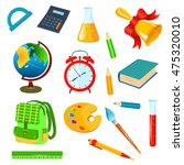 isolated school accessories on... | Shutterstock . vector #475320010