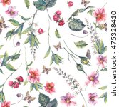 watercolor vintage floral... | Shutterstock . vector #475328410