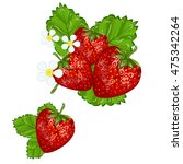 strawberries with leaves sweet ... | Shutterstock .eps vector #475342264