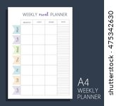 weekly meal planner. vertical... | Shutterstock .eps vector #475342630