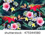 parrots  tropical flowers  palm ... | Shutterstock .eps vector #475344580