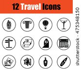 travel icon set.  thin circle...