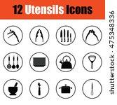 utensils icon set.  thin circle ...