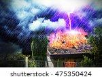 lightning strike in a house | Shutterstock . vector #475350424