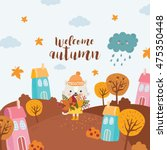 welcome autumn. cat with a... | Shutterstock .eps vector #475350448
