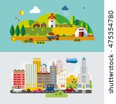 set of different landscapes in... | Shutterstock .eps vector #475354780