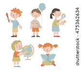 cute children in kindergarten.... | Shutterstock .eps vector #475362634
