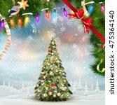 christmas fir tree on winter... | Shutterstock .eps vector #475364140
