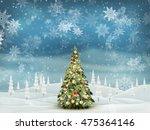 christmas fir tree on winter... | Shutterstock .eps vector #475364146