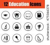 school icon set.  thin circle...