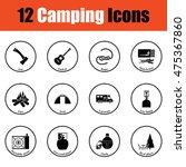 camping icon set.  thin circle...