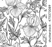 floral seamless etching pattern.... | Shutterstock .eps vector #475373089