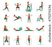 fitness  aerobic  and workout... | Shutterstock .eps vector #475374196