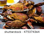 cooked blue crabs steamed red... | Shutterstock . vector #475374364