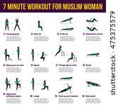 muslim woman in hijab in...   Shutterstock .eps vector #475375579