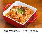 baked noodles  shrimp  hand... | Shutterstock . vector #475375606