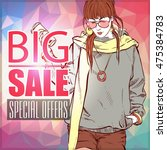 sale banner with fashion girl....   Shutterstock .eps vector #475384783