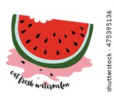 slice of juicy watermelon  with ... | Shutterstock .eps vector #475395136