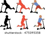 silhouettes of little boy going ... | Shutterstock .eps vector #475395358