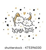 pajama party card. slumber... | Shutterstock .eps vector #475396030