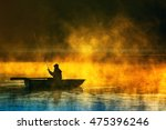 man fishes in the lakes of the... | Shutterstock . vector #475396246