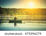man fishes in the lakes of the... | Shutterstock . vector #475396279