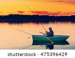 man fishes in the lakes of the... | Shutterstock . vector #475396429