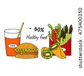 healthy food concept  vintage... | Shutterstock .eps vector #475400350