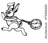 Stock vector running white rabbit with pocket watch vector illustration for tale alice in wonderland 475406683