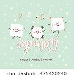 pajama party card. sleepover... | Shutterstock .eps vector #475420240