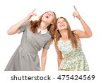 two friends show up on a white... | Shutterstock . vector #475424569