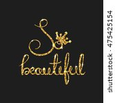 queen golden text for card.... | Shutterstock .eps vector #475425154
