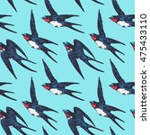 vector hand drawn swallow birds ... | Shutterstock .eps vector #475433110