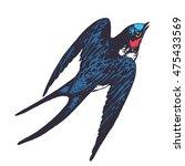 vector hand drawn swallow bird...   Shutterstock .eps vector #475433569