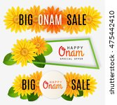three onam sale banners. floral ... | Shutterstock .eps vector #475442410