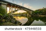 Bridge Over River At Sunset In...