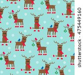 cute reindeer pattern  | Shutterstock .eps vector #475449160